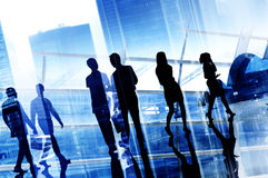 Silhouette Business People Commuter Walking Rush Hour Concept.  Royalty Free Stock Photos