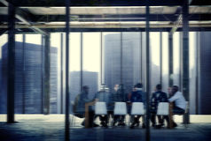 Silhouette Business People Conference Cityscape Concept Stock Image