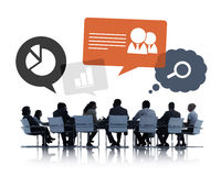 Silhouette of Business People Discussing Teamwork Royalty Free Stock Photography