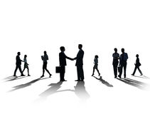 Silhouette Business People Discussion Communication Greeting Han Stock Photos