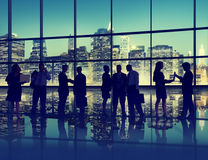 Silhouette Business People Discussion Communication Meeting Conc Stock Photography