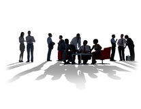 Silhouette Business People Discussion Communication Meeting Stock Images