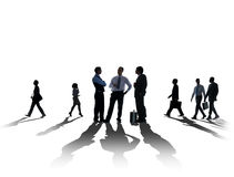 Silhouette Business People Discussion Meeting Cityscape Concept Stock Photography