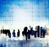 Silhouette Business People Discussion Meeting Cityscape Concept Royalty Free Stock Photography