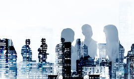 Silhouette Business People Discussion Meeting Cityscape Team Con Royalty Free Stock Photo