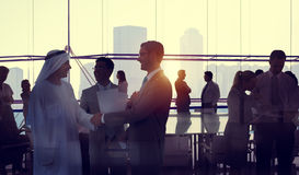 Silhouette Business People Discussion Meeting Cityscape Team Con Stock Images
