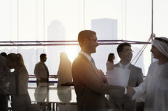 Silhouette Business People Discussion Meeting Cityscape Team Con stock image