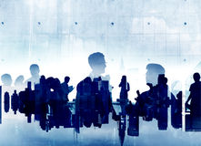 Silhouette Business People Discussion Meeting Cityscape Team Royalty Free Stock Images