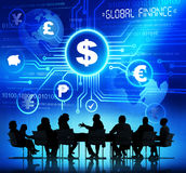 Silhouette of Business People with Global Finance Stock Photo