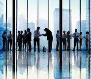 Silhouette of Business People Greeting Concepts Royalty Free Stock Photo