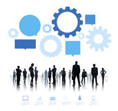 Silhouette of Business People with Infographic Stock Image