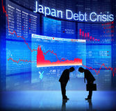 Silhouette of Business People and Japan Debt Crisis.  Stock Photo