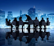 Silhouette of Business People in a Meeting Royalty Free Stock Photo