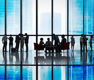 Silhouette of Business People Meeting Concepts Royalty Free Stock Image