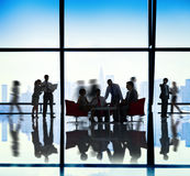 Silhouette of Business People Meeting Concepts Stock Image