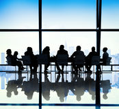 Silhouette of Business People Meeting Concepts Stock Photography