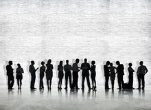 Silhouette of Business People Meeting Stock Images