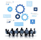 Silhouette of Business People Meeting Infographic.  stock image