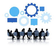 Silhouette of Business People Meeting Infographic.  royalty free stock photo