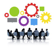 Silhouette of Business People Meeting Infographic Royalty Free Stock Photography