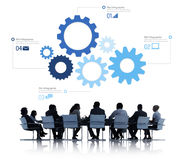 Silhouette of Business People Meeting Infographic Royalty Free Stock Image