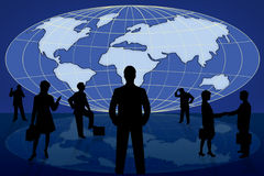 Silhouette Business People On World Map Stock Photography