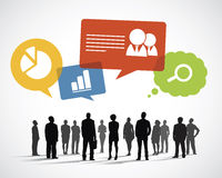 Silhouette Business People with Speech Bubbles Royalty Free Stock Images
