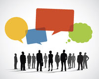 Silhouette Business People with Speech Bubbles Royalty Free Stock Photography