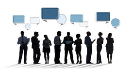 Silhouette Business People with Speech Bubbles Stock Photo