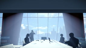 Silhouette of Business People Team, Rear View City Skyline royalty free illustration