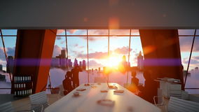 Silhouette of Business People Team, Rear View Cityscape at Sunset, zoom in stock video
