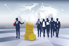 Silhouette Business People Team Success Finance Money Wealth. Flat Vector Illustration Stock Image