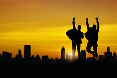 Silhouette of business people team and successful teamwork group stock photo