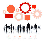Silhouette of Business People Teamwork Infographic Stock Photo