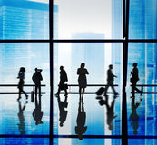 Silhouette of Business People Urban Scene Concepts Stock Photography