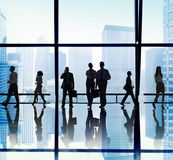 Silhouette of Business People Urban Scene Concepts Stock Photo