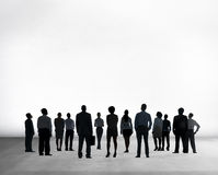 Silhouette Business People  on White Rear View Concept Stock Images