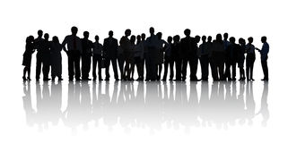 Silhouette of Business People Working Royalty Free Stock Photos