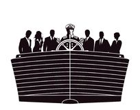 Silhouette of business professionals in boat Royalty Free Stock Image