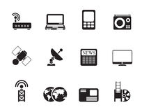 Silhouette Business, technology  communications icons. Vector icon set Stock Photo