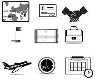 Silhouette business trip icon collection set Stock Photo