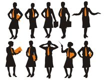 Silhouette of the business woman Stock Photos