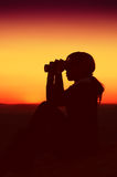 Silhouette of Business Woman Stock Images