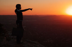 Silhouette of Woman on Hill top Royalty Free Stock Image