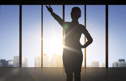 Silhouette of business woman pointing hand royalty free illustration