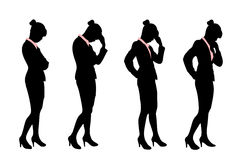 Silhouette of business woman. With white background Stock Images
