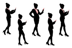 Silhouette of business woman Stock Photography