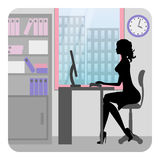Silhouette business woman working in office. Vector Stock Images