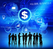 Silhouette of business Working and Global Business Concept Stock Photo