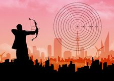Silhouette of businessman aiming with bow and arrow at target over cityscape. Digital composition of businessman aiming with bow and arrow at target over Stock Photography